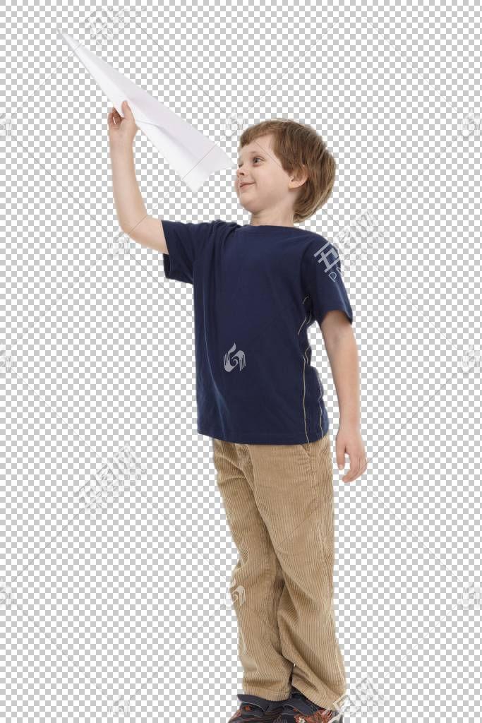 穿深色T恤玩纸飞机的金发外国小男孩