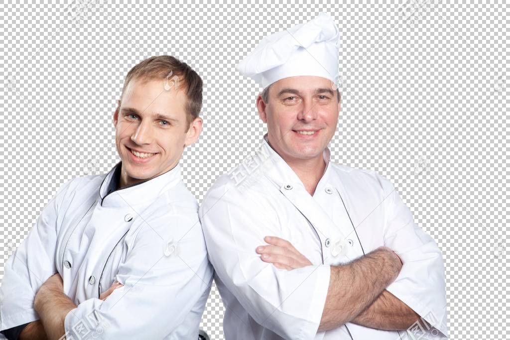 靠在一起的厨师搭档