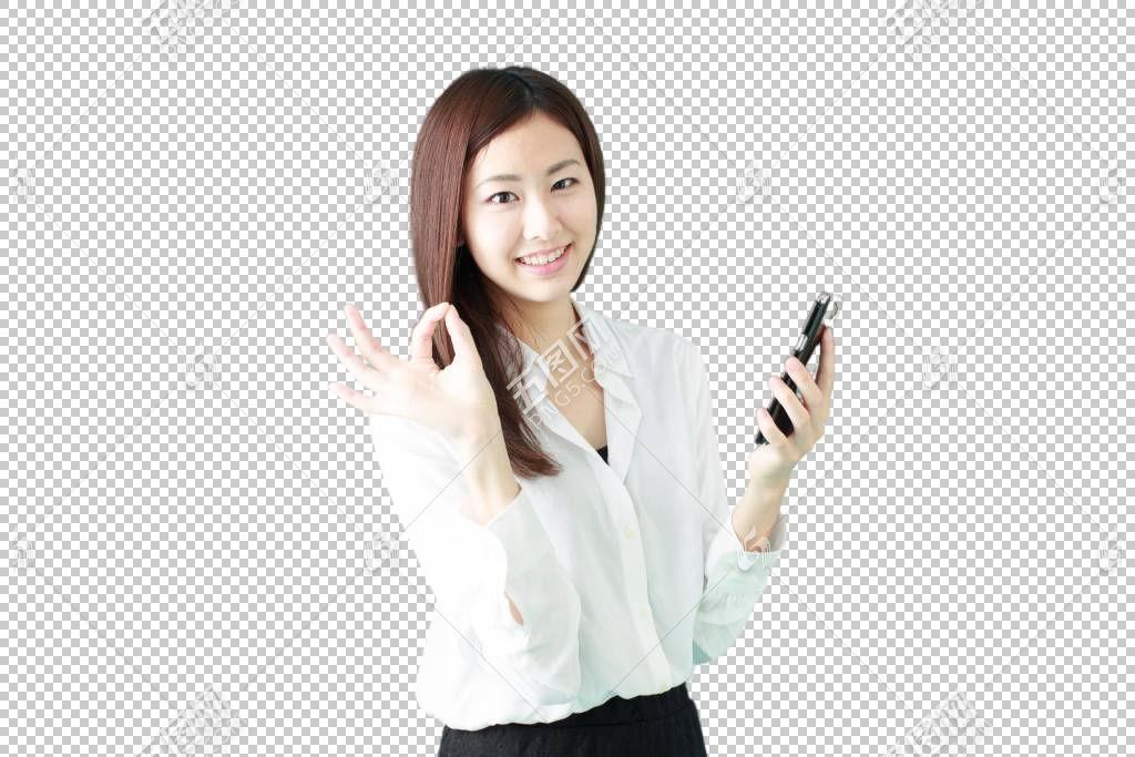 拿着手机做OK手势的白色衬衫职场女性