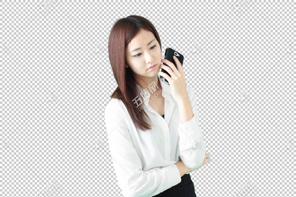拿着手机沉默等待的白色衬衫职场女性