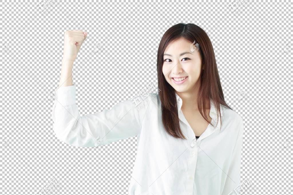 竖起拳头微笑鼓励的白色衬衫职场女性