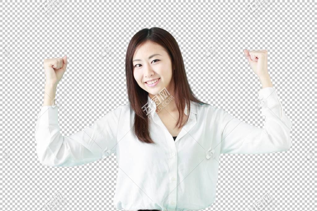 双手握拳举起来鼓励的白色衬衫职场女性