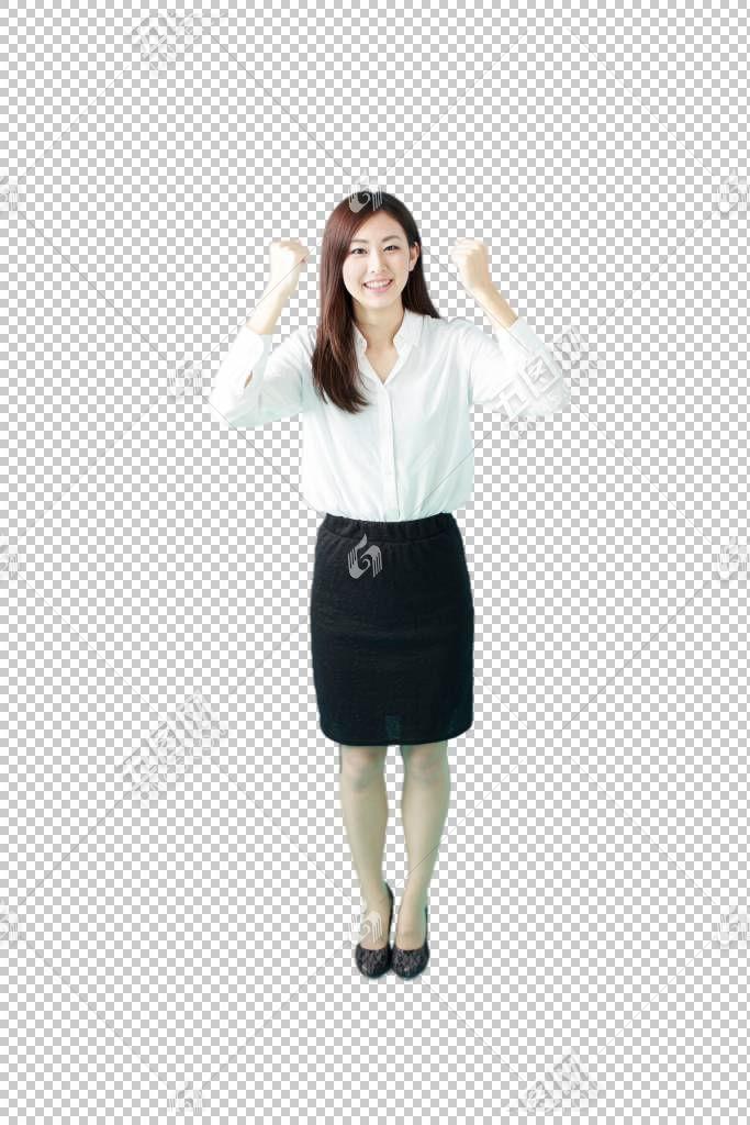 双手握拳加油鼓劲的白色衬衫职场女性