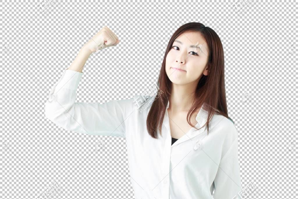 竖起右手拳头加油鼓劲的白色衬衫职场女性