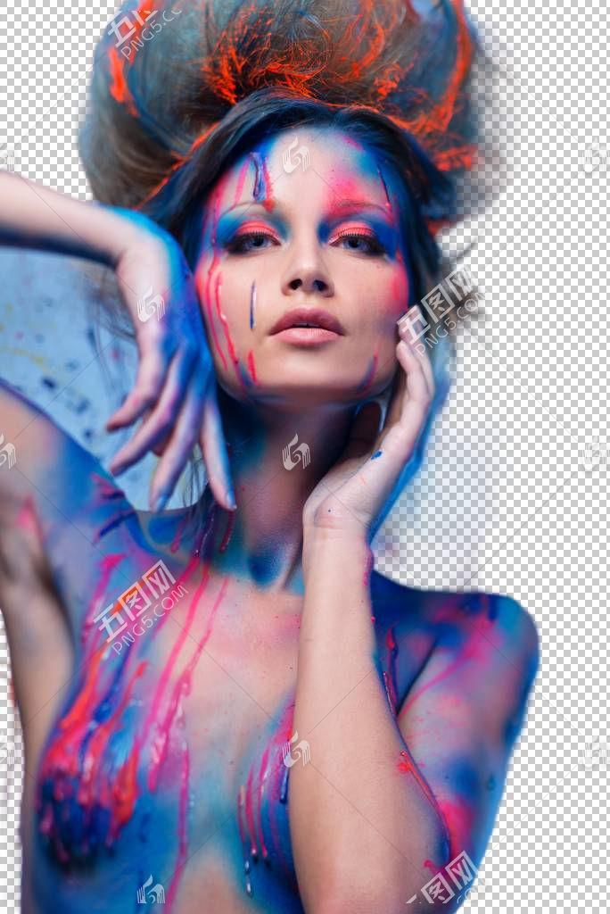 赤裸上身的女性颜料艺术照