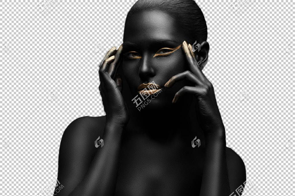 全身黑肌肤的女性艺术照
