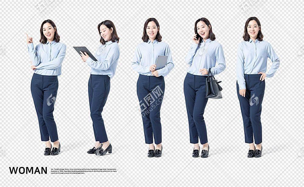 商务职场女性主题韩式五个人物动作海报素材