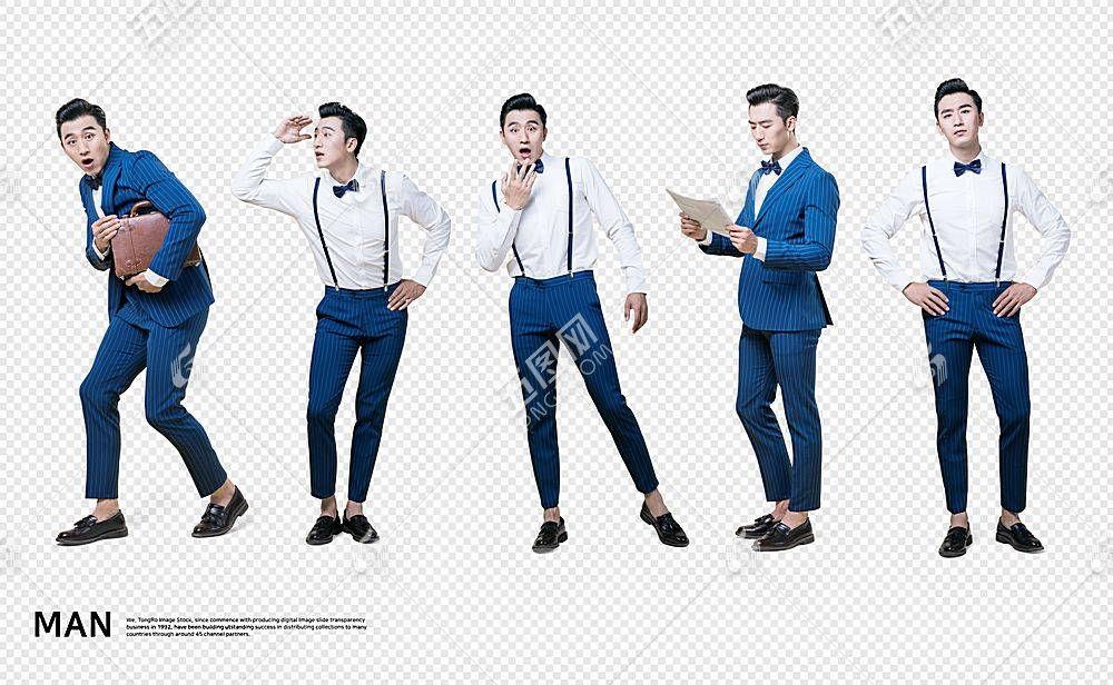 商务职场男子主题韩式五个人物动作海报素材
