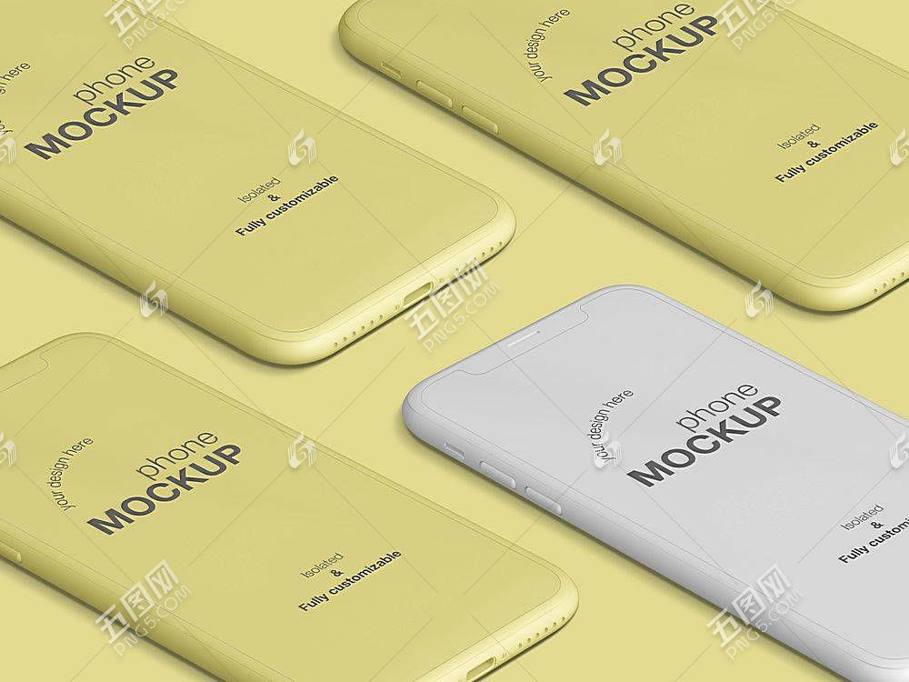 浅黄背景智能手机样机素材