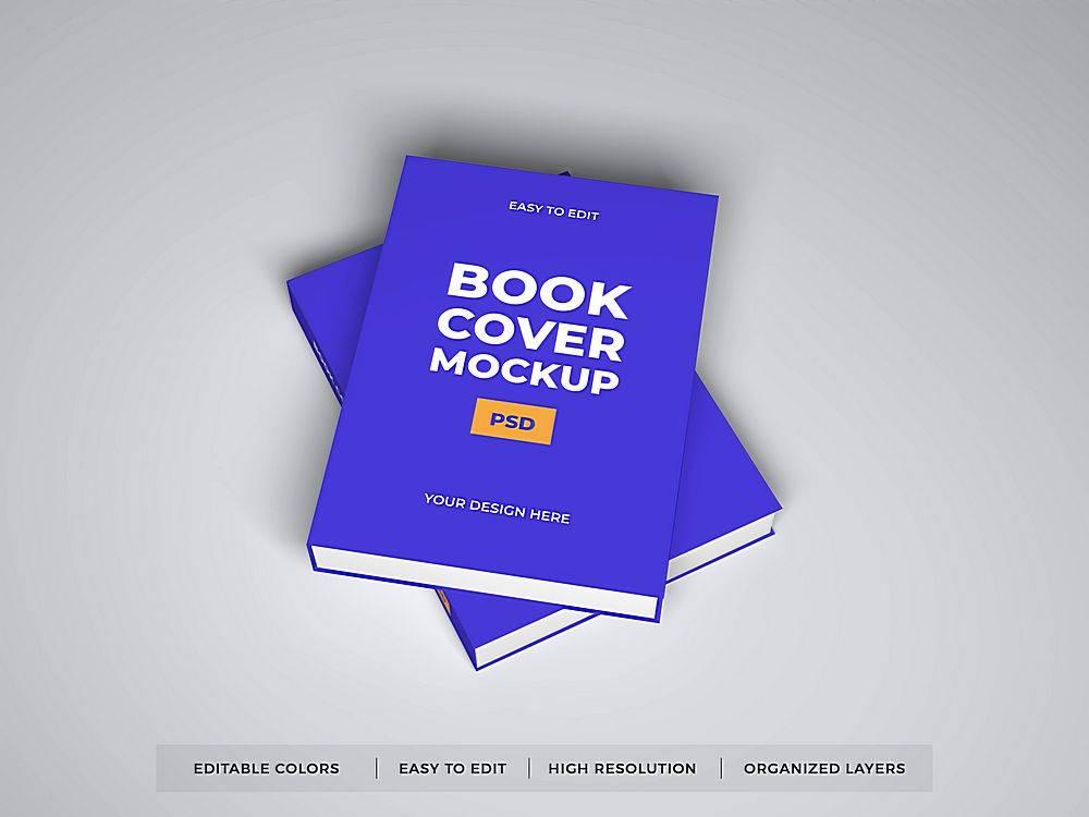 蓝色立体书籍封面智能样机素材