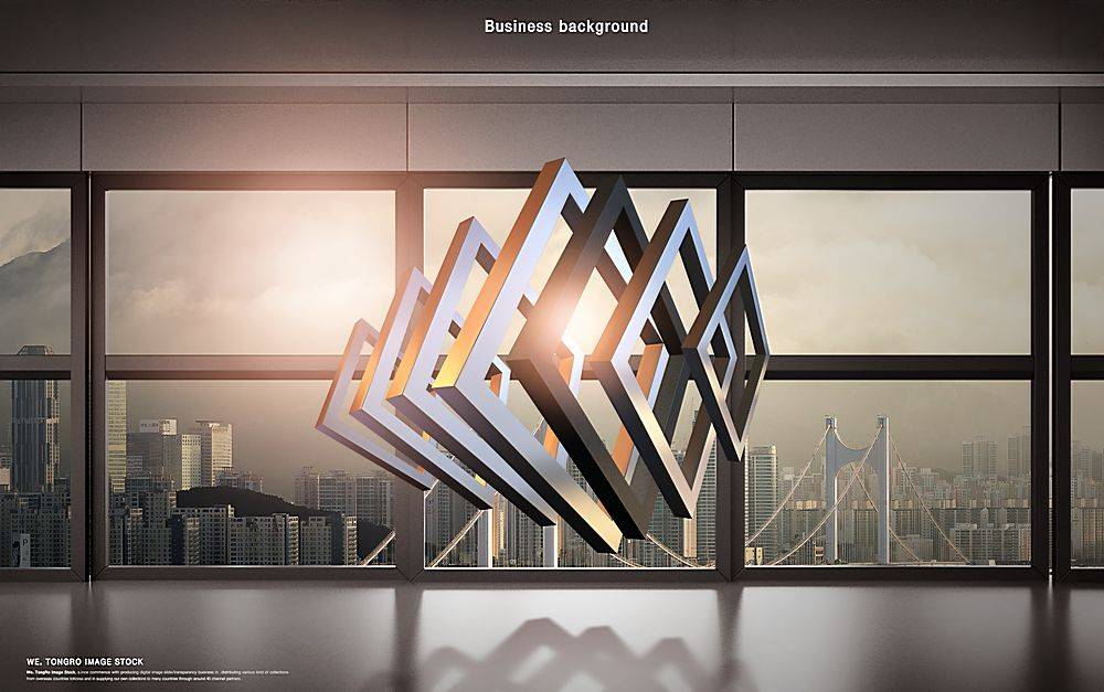 现实空间场景与虚拟立体几何图形融合简洁时尚商业商务背景设计