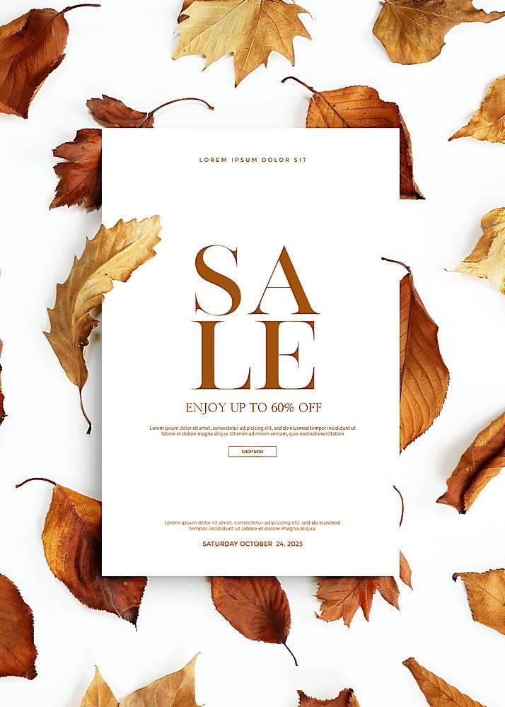 秋天枯叶落叶促销打折海报设计