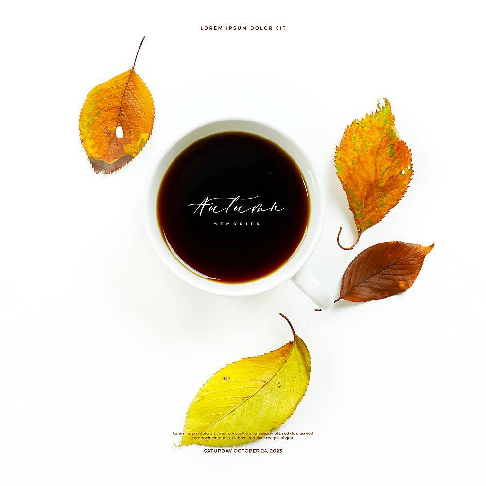 文艺清新落叶枯叶咖啡元素你好秋天海报设计