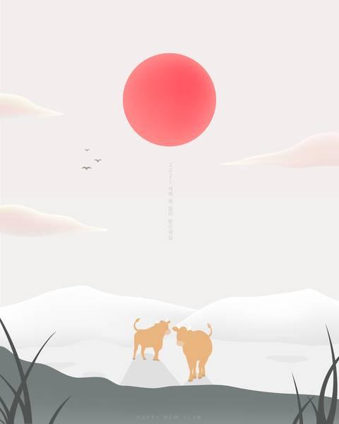 韩式唯美意境新年快乐元旦海报场景背景