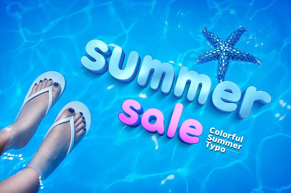 海星泳池人字拖女性3D立体缤纷夏日夏季主题清新简洁时尚海报设计