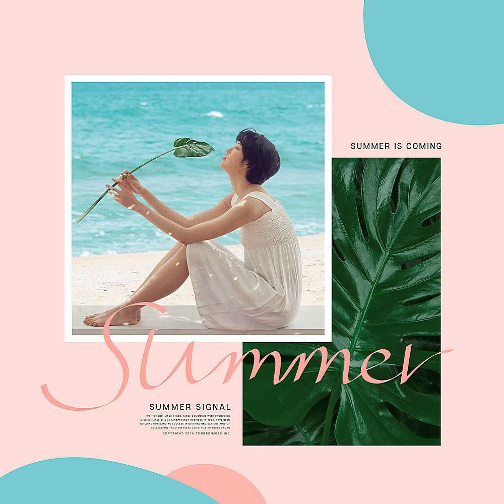 夏日清凉人物社交媒体分享组图模板