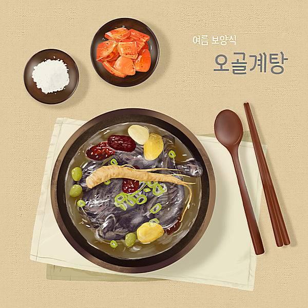 人参红枣乌鸡葱花泡菜韩式料理