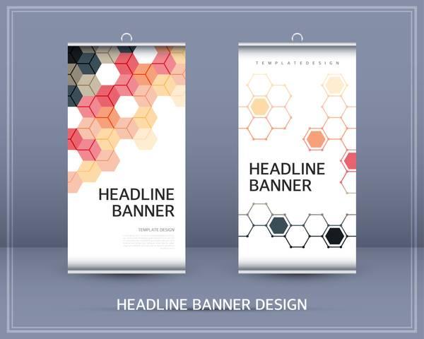 商务通用简洁几何图形展架海报